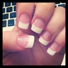 Pink and white acrylic nails with gel overlay