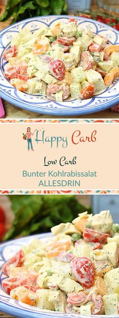 Bunter Kohlrabissalat ALLESDRIN - Happy Carb Rezepte The all-round rich and happy salad. Low carb, no carbohydrates, gluten free, low carb recipes, lo Sugar Free Diet, Sugar Free Recipes, Gluten Free Recipes, Low Carb Recipes, Healthy Recipes, Big Mac, Dieta Atkins, Paleo Food List, Law Carb