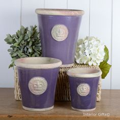 Kew Long Tom Pots in Heather - Royal Botanic Gardens Plant Pots from www.interiorgifts.co.uk