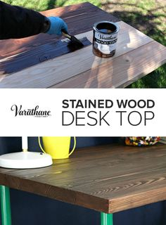 Wood furniture projects are easy to DIY with the right tools and staining techniques. Pros trust Varathane for their wood staining projects and you can too. Check out this DIY stained wood DIY wooden desk project from Jaime Costiglio for woodworking and wood staining tips and tricks. #varathaneit