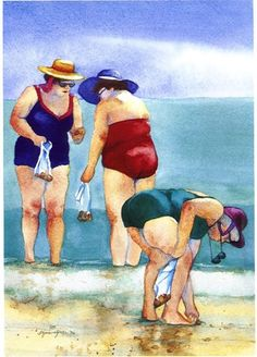 beach ladies …when life starts getting fun. Plus Size Art, Fat Art, Painting People, Beach Scenes, Whimsical Art, Beach Art, Painting Inspiration, Watercolor Paintings, Watercolour