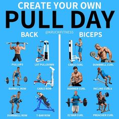 If you want to create your own workout, nows your chance. Heres a list of exercises you can do on pull day for all muscl Push Pull Legs Workout, Push Workout, Gym Workout Chart, Workout Splits, Leg Workout At Home, Push Pull Workout Routine, Gym Routine, Workout Tips, Workout Routines