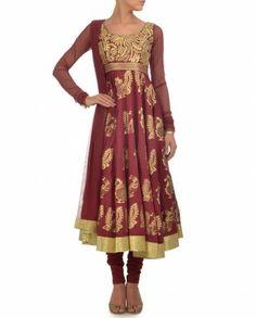 Deep Maroon Anarkali Suit with Bird Block Print- Buy Suits,Biba By Rohit Bal,Bordeaux Trend Online | Exclusively.in
