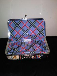 Vera Bradley In Versailles Travel/Cosmetic Bag Kiss Lock Plastic Lined Retired #VeraBradley