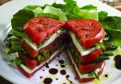 Beautiful spin on Caprese salad with asparagus.