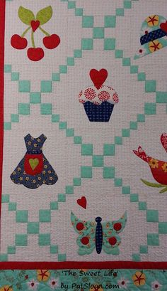 Adorable!!!! Pat A Sloan is sharing her #Aurikit! This Moda Fabrics United Notions exclusive, limited edition kit includes a mini charm pack of Pat's new line, The Sweet Life, seven spools of 50wt Aurifil and a free pattern! Everything you need to make this darling quilt top! Make sure to visit Moda and Pat Sloan during International Quilt Market booth # 1745, to find out more about these kits that are PERFECT for gifts, guilds, shop classes or just for FUN!