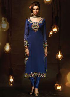 Blue Georgette Straight Suit
