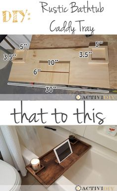 9 Steps to Build a DIY Wooden Rustic Bathtub Caddy Tray