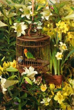 ❀ Blooming Brushwork ❀ - garden and still life flower paintings - George's Spring - Oil by Daniel J. Keys