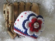 crochet baby girl baseball hat with flower