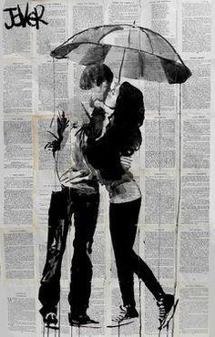 "Saatchi Art Artist: Loui Jover; Ink 2013 Drawing ""under the umbrella&quo"