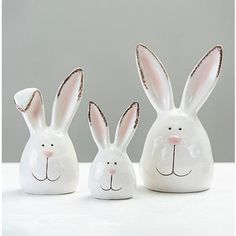 Celebrate the Easter season in style with these adorable Crackle Finish Bunny Heads! Their distressed finish and darling design will fit perfectly with your holiday decor.             Set includes three (3) bunnies          Each bunny measures up to 5.5L x 4.5W x 9.5H in.          Crafted of dolomite          White crackle finish          Bunny face design          Hues of white, brown, and pink          Care: Dust with a soft, dry cloth.          Contact your local Kirkland's store for availabi Hoppy Easter, Easter Bunny, Easter 2021, Easter Season, Bunny Face, Diy Easter Decorations, Hand Art, Easter Wreaths, Easter Crafts