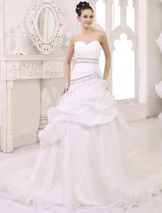 d3b12a01965 Chapel Train Ivory Ball Gown Wedding Dress For Bride with Sweetheart Neck  Pleated Skirt White Ball
