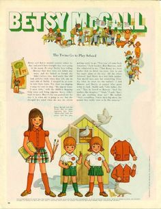 Vintage September 1970 Magazine Paper Doll Betsy McCall The Twins go to Play School* For lots of free paper dolls International Paper Doll Society #ArielleGabriel #ArtrA thanks to Pinterest paper doll collectors for sharing *