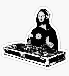 Star Wars Art Discover DJ Mona Lisa Sticker by robotface Stickers Cool, Tumblr Stickers, Printable Stickers, Laptop Stickers, Planner Stickers, Mac Stickers, Spongebob Birthday Party, Aesthetic Stickers, Star Wars Art