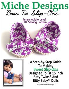 "BOW TIE SLIP-ONS 15"" DOLL SHOES"