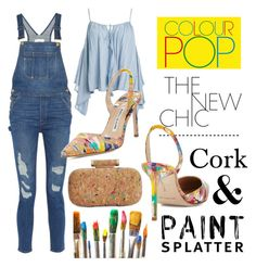 Cork & Paint Splatter by istyled on Polyvore featuring polyvore, fashion, style, Sans Souci, Frame Denim, Manolo Blahnik, INC International Concepts, Casetify and clothing