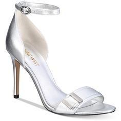 Nine West Matteo Two-Piece Sandals ($80) ❤ liked on Polyvore featuring shoes, sandals, silver metallic, silver metallic sandals, nine west sandals, nine west, nine west shoes and silver metallic shoes
