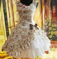 Handmade Floral Three White Layers Bowknot Decoration Cotton Lolita Dress (Made to Order)' on Wish, check it out! Old Fashion Dresses, Estilo Lolita, Nice Dresses, Formal Dresses, Awesome Dresses, Casual Dresses, Prom Dresses, Wedding Dresses, Lolita Cosplay