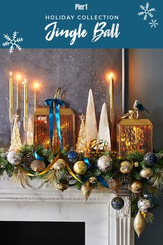 Hosting an ultra-glam holiday party? Discover jeweled shades of sapphire, gold and silver mingling with mercury glass in this gilded, glam holiday decor collection. Christmas Swags, Christmas Fireplace, Christmas Mantels, Blue Christmas, Christmas Photos, Winter Christmas, Christmas Holidays, Christmas Crafts, Christmas Entertaining