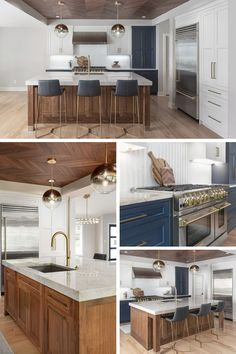 "Wow! 😍 This kitchen design, which incorporates both modern and classic elements, was built around the function and look of the BlueStar 48"" gas RNB range and 36"" built in refrigerator. We focused on mixing old materials with new materials and making the space feel inviting. #kitchendesign #ktichenideas #kitchen #kitcheninspo Brown Kitchen Designs, Modern Kitchen Design, Kitchen On A Budget, Kitchen Redo, Kitchen Board, Built In Refrigerator, Brown Kitchens, Navy Kitchen Cabinets, Ceiling Design"