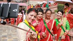 Nepalese women would wear red Sari to celebrate Teej festival
