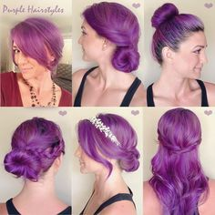 purple color hairstyles with clip in long straight human hair extensions
