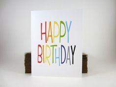 Happy Birthday Card Rainbow Greeting Card by craftedbylindy
