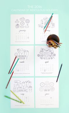 Free Printable Coloring Calendar - 2016 Calendar of Ridiculous Holidays | damask love