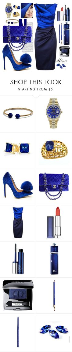 """""""mina"""" by mina-al-wiswassi ❤ liked on Polyvore featuring David Yurman, Rolex, Bling Jewelry, Chanel, Talbot Runhof, Maybelline, Clinique, Christian Dior, Clarins and NYX"""