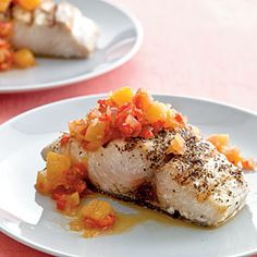 Mahimahi with Pineapple Chutney - oh yeah, I just about burned our taste buds off with this one, I think I used a whole habanero, and I didn't use any rum