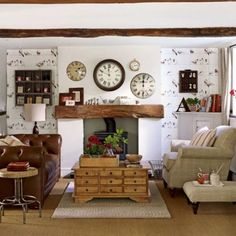 Living Room Elegant Country Style Rooms With White Wall Color And Fireplace Decorative Clocks