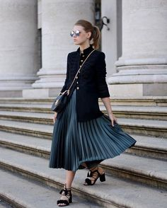 This season you can never go wrong with a velvet military jacket & a pleated skirt - for more details, head over to WWW.OFFWHITESWAN.COM  #velvet #military #jacket #pleatedskirt
