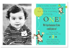 boys first birthday invites | 1st Birthday Monkey Birthday Invitations: Boy Monkey Themed Party ...