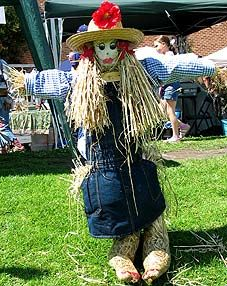 A whimsical traditional scarecrow idea