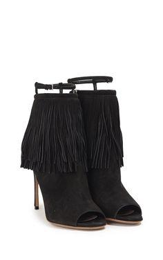 MIU MIU - Fringe suede open-toe ankle boots