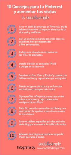 #Infografia: 10 consejos para tu #Pinterest y aumentar tus visitas