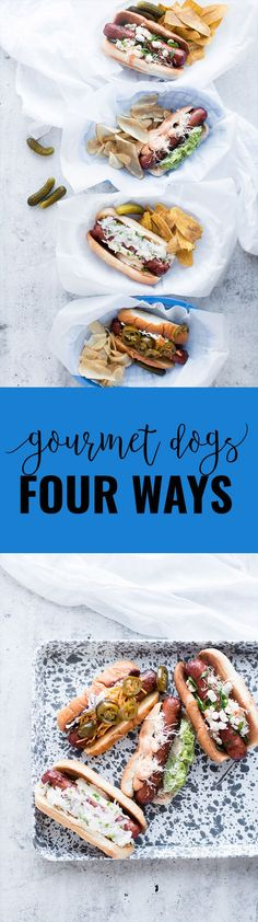 Gourmet Hot Dogs – Four Ways | homemade hot dog recipes | gourmet hot dog recipes | how to make gourmet hot dogs | hot dog topping ideas | hot dog bar | how to make a hot dog bar | easy hot dog recipes | unique hot dog recipes || Oh So Delicioso