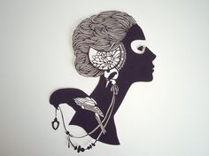Girl with a bird  handcut paper silhouette  95 x 63 by Papercutout, $50.00