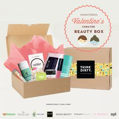 We are partnering with rated clean 0-3 beauty brand sponsors1 who support our mission to bring the most requested beauty box to you. Each box comes with 8 hand-picked, rated clean beauty products, a full she-bang of Think Dirty swag goodies and lots of lo
