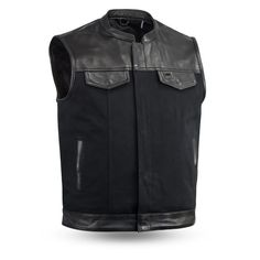 Heavy Hitter Canvas with diamond cowhide on top Preacher Collar Black cotton back liner Club style vest, two front snap pockets and two slash pockets Covered snaps and hidden zipper, featuring our . Motorcycle Vest, Biker Vest, Motorcycle Leather, Leather Vest, Leather Jackets, Raw Denim, Club Style, Outdoor Outfit, Black Cotton