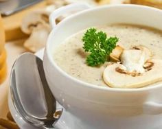 Find Mushroom Cream Soup On Table Food stock images in HD and millions of other royalty-free stock photos, illustrations and vectors in the Shutterstock collection. Slow Cooker Recipes, Gourmet Recipes, Cooking Recipes, Healthy Recipes, Healthy Soup, Creamed Mushrooms, Stuffed Mushrooms, Stuffed Peppers, Dried Mushrooms