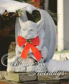 Happy Holidays Gargoyle in Red Bow Christmas by TheOldBarnDoor