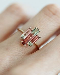 Baguette Three-Stone Watermelon Tourmaline Ring - Praise