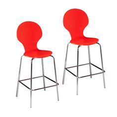 Conbie Red-Orange Barstools, Set of 2