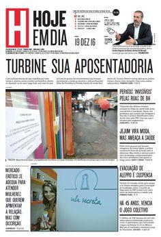 Capa do dia 19/12/2016 #HojeEmDia #Jornal #Notícias #News #Newspaper