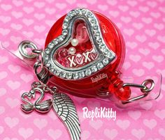 Valentine's Day Badge Heart Locket for Floating Charms - Handmade by RepliKitty www.replikitty.etsy.com #xoxo #candyheart #bemine #valentinesday #badgelocket #lockets #floatingcharms #pearls #crystals #bling #red #pink #hearts #wings #swans #angel #owl #replikitty #dangle