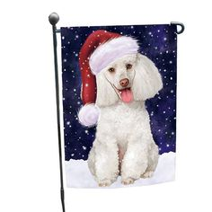 Let it Snow Christmas Holiday White Poodle Dog Wearing Santa