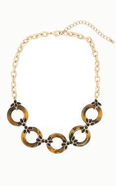 gold plated necklace with acyrlic tortoiseshell rings