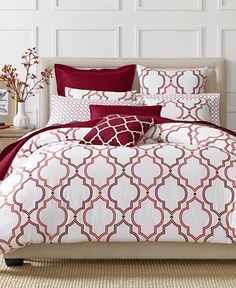CLOSEOUT! Charter Club Damask Designs Garnet Ogee 3 Piece Duvet Sets, Only at Macy's - Duvet Covers - Bed & Bath - Macy's